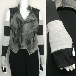Trixy Xchange Gray & Black Striped Arm Warmers
